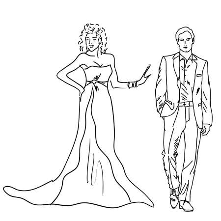 evening gown: Silhouette of bride and groom,