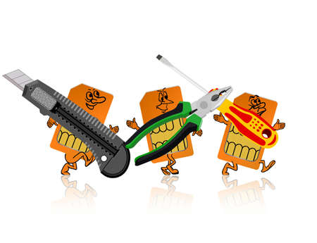 SIM-card in the form of little people are tools. Stock Vector - 13321146