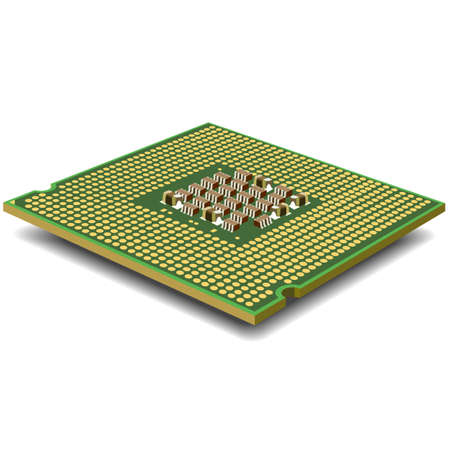 computer  processor on a white background is isolated gold color with a microcircuit. Vector