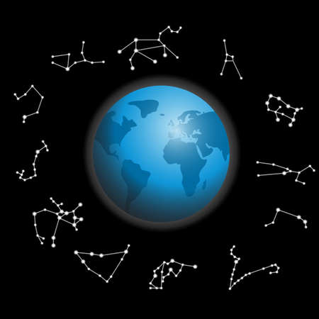 constellations around the globe vector illustration Stock Vector - 13321144
