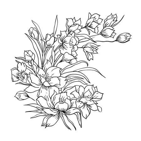 sketch pattern: Flor ramo de flores, pintado a mano Vectores