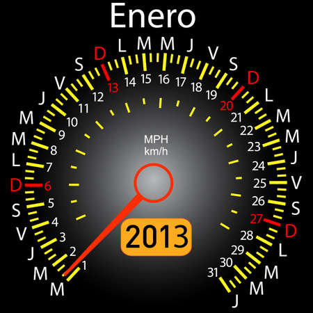 2013 year calendar speedometer car in Spanish  January Vector