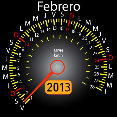 2013 year calendar speedometer car in Spanish  February Vector