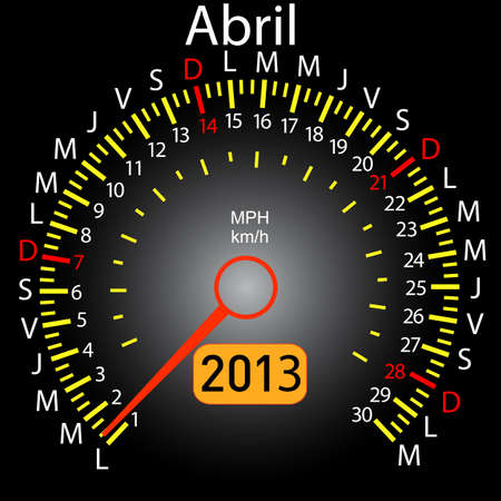 2013 year calendar speedometer car in Spanish  April Stock Vector - 13320968