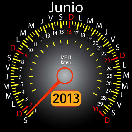 2013 year calendar speedometer car in Spanish  June Vector