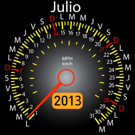 2013 year calendar speedometer car in Spanish  July Vector