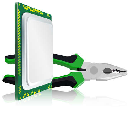 pliers and computer processor on a white background Vector