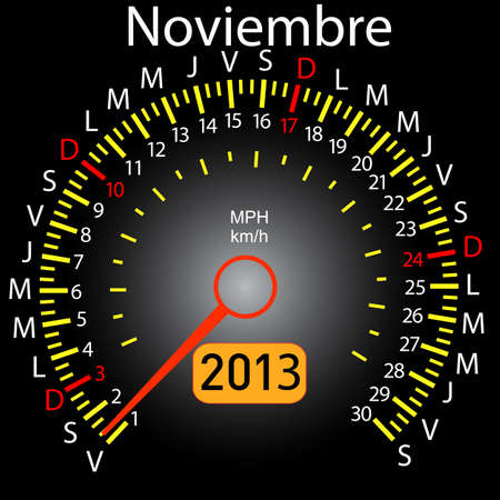 2013 year calendar speedometer car in Spanish  November Vector