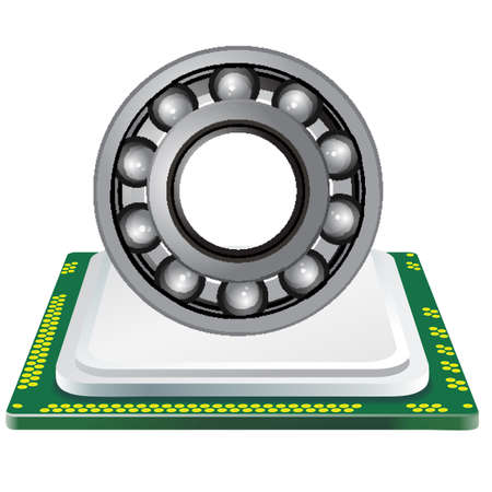 bearing and computer processor on a white background Illustration