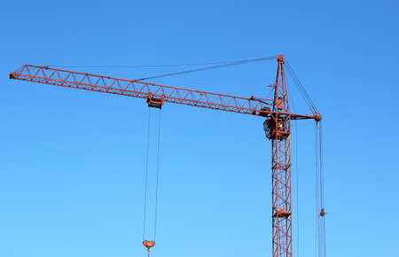 red crane and blue sky on building site Stock Photo - 13983842