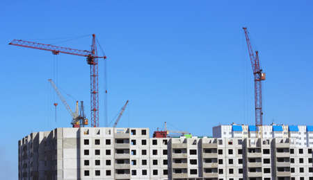 crane and blue sky on building site Stock Photo - 13983841