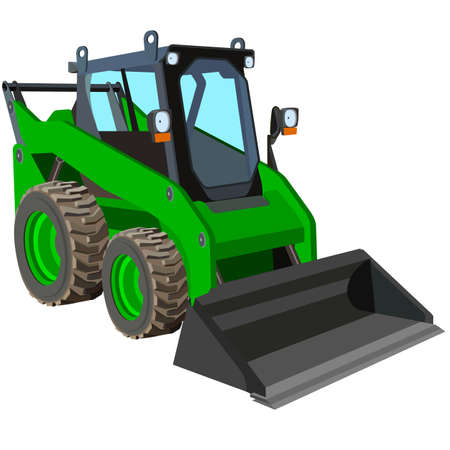 loader: The green truck with a scraper to lift cargo