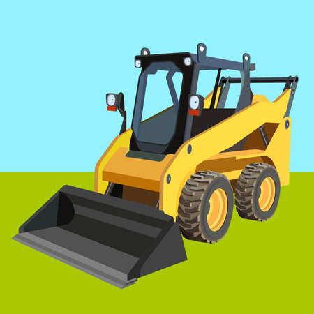 scraper: The yellow truck with a scraper to lift cargo  Illustration