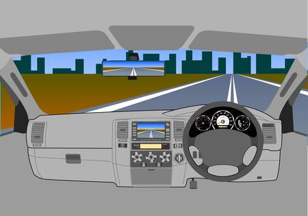 The car without a driver on the road  Vector