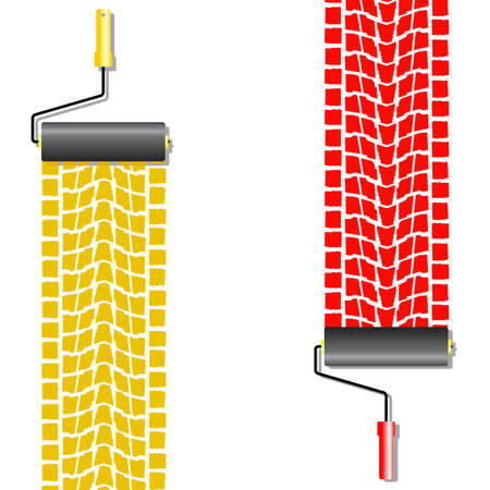 The roller draws paint from the wheel of the machine   Vector