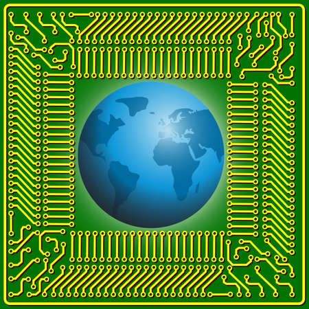 Motherboard globe  background for technology concept design Vector