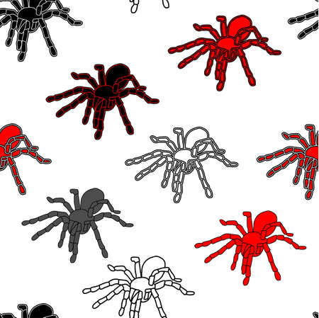 Halloween seamless pattern with black spiders and a web  can be repeated and scaled in any size Vector