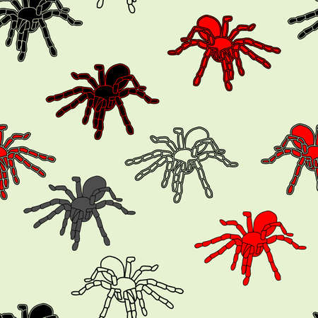 crawly: Halloween seamless pattern with black spiders and a web  can be repeated and scaled in any size