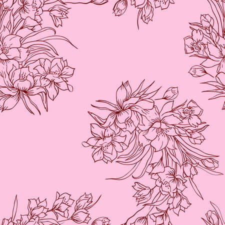 Seamless background with flower  Could be used as seamless wallpaper, textile, wrapping paper or background Stock Vector - 14036640