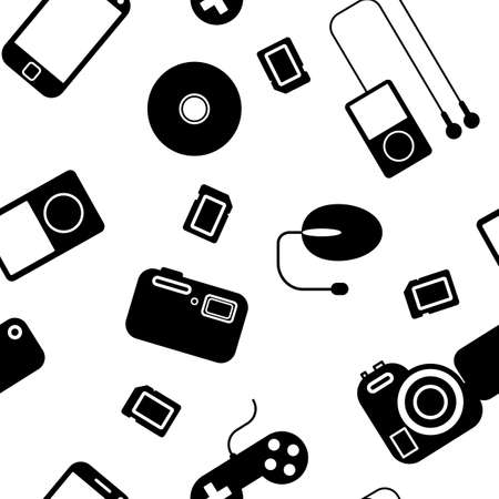 Seamless background Icon  with  electronic gadgets  Could be used as seamless wallpaper, textile, wrapping paper or background Stock Vector - 14036546