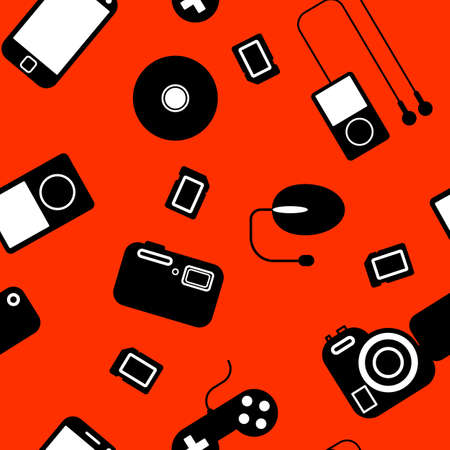 Seamless background Icon  with  electronic gadgets  Could be used as seamless wallpaper, textile, wrapping paper or background Stock Vector - 14036545