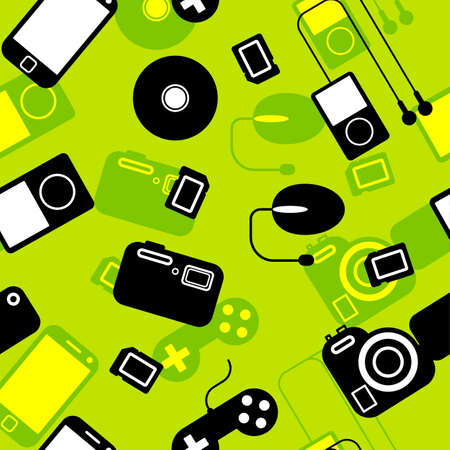 Seamless background Icon  with  electronic gadgets  Could be used as seamless wallpaper, textile, wrapping paper or background Stock Vector - 14036570