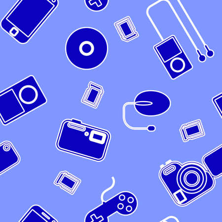 Seamless background Icon  with  electronic gadgets  Could be used as seamless wallpaper, textile, wrapping paper or background Stock Vector - 14036621