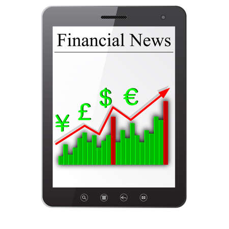 Financial News on Tablet PC  Isolated on white  Vector  illustration  Stock Vector - 14036529