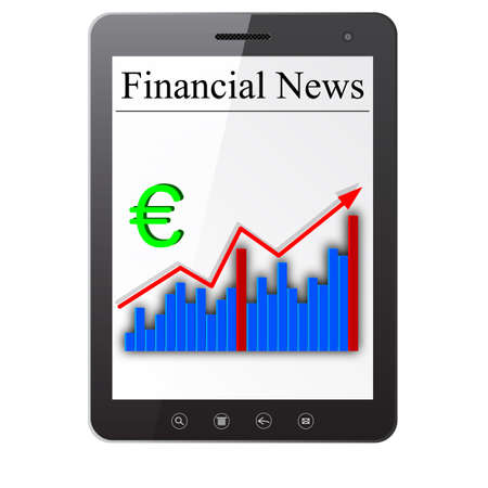 Financial News on Tablet PC  Isolated on white  Vector  illustration Stock Vector - 14036513