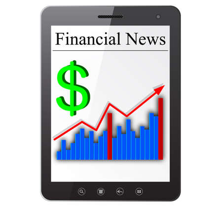 Financial News on Tablet PC  Isolated on white Stock Vector - 14036533