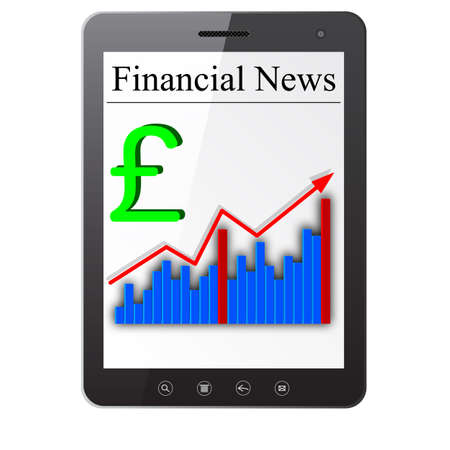 Financial News on Tablet PC  Isolated on white  Stock Vector - 14036517