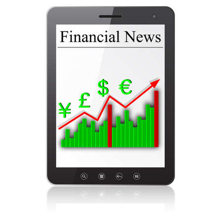 Financial News on Tablet PC  Isolated on white Stock Vector - 14036556