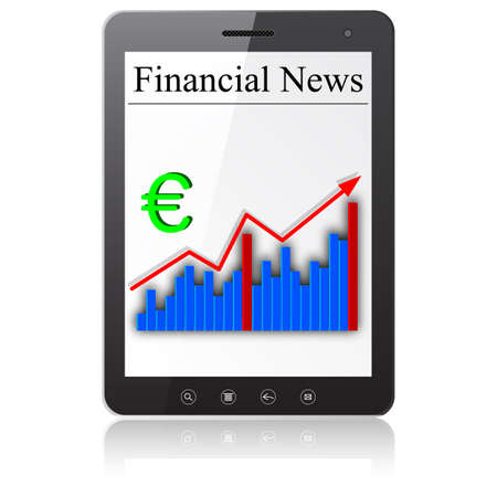 Financial News on Tablet PC  Isolated on white Stock Vector - 14036554