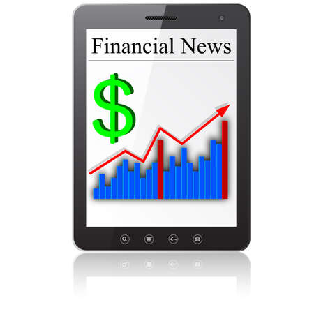 Financial News on Tablet PC  Isolated on white Stock Vector - 14036562