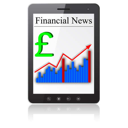 Financial News on Tablet PC  Isolated on white Stock Vector - 14036557