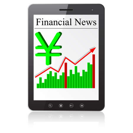 Financial News yena on Tablet PC. Isolated on white. Stock Vector - 14101638