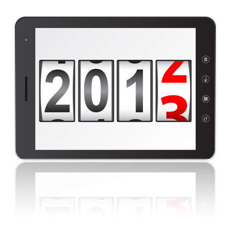 Tablet PC computer with 2013 New Year counter isolated on white background.