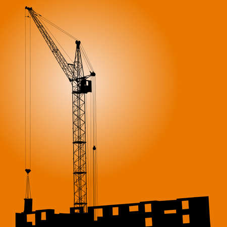 Silhouette of crane on a sunset on a building Stock Vector - 14101661