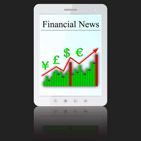 tabletpc: Financial News on white tablet PC computer  isolated on white background.