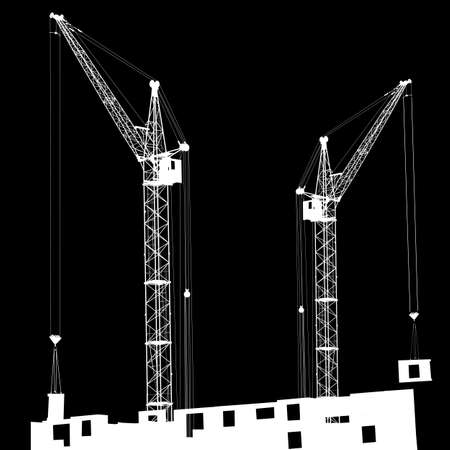 Silhouette of two cranes working on the building on a black background Stock Vector - 14101667