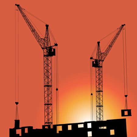 夕日を背景に建物でクレーンのシルエット. 写真素材