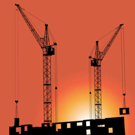 Silhouettes of crane on building against the backdrop of the sunset Vector
