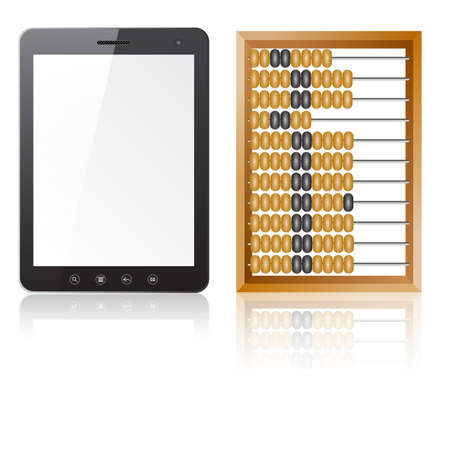Tablet PC computer with blank screen with abacus isolated on white background Stock Vector - 14101754