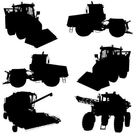 cosechadora: Siluetas de los veh�culos agr�colas configurar Vectores