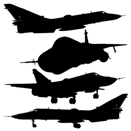 illustration military combat airplane silhouettes set Vector