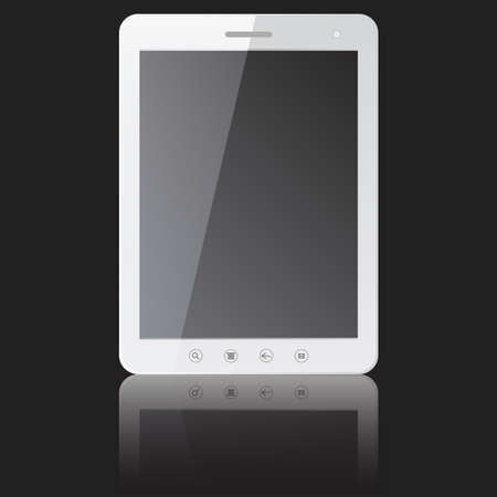 white tablet PC computer with blank screen  isolated on black background  Vector