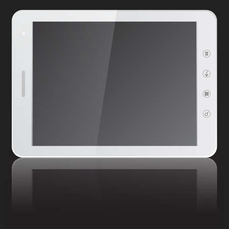 white tablet PC computer with blank screen horizontally isolated on black background