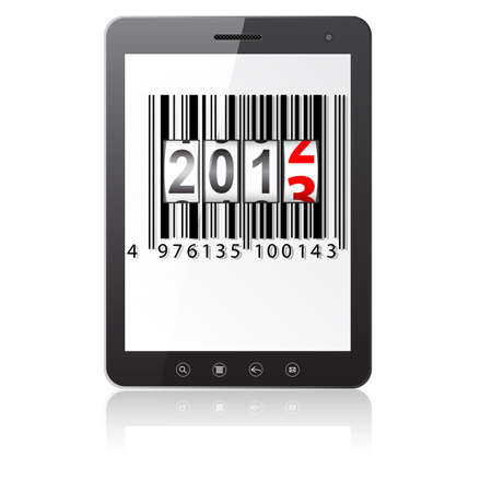 Tablet PC computer with 2013 New Year counter, barcode isolated on white background Stock Vector - 14101736