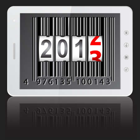 White tablet PC computer with 2013 New Year counter, barcode isolated on black background  Stock Vector - 14101766