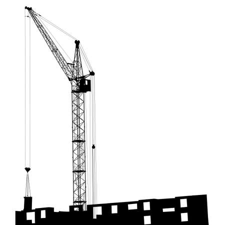 construction machinery: Silhouette of one cranes working on the building on a white background